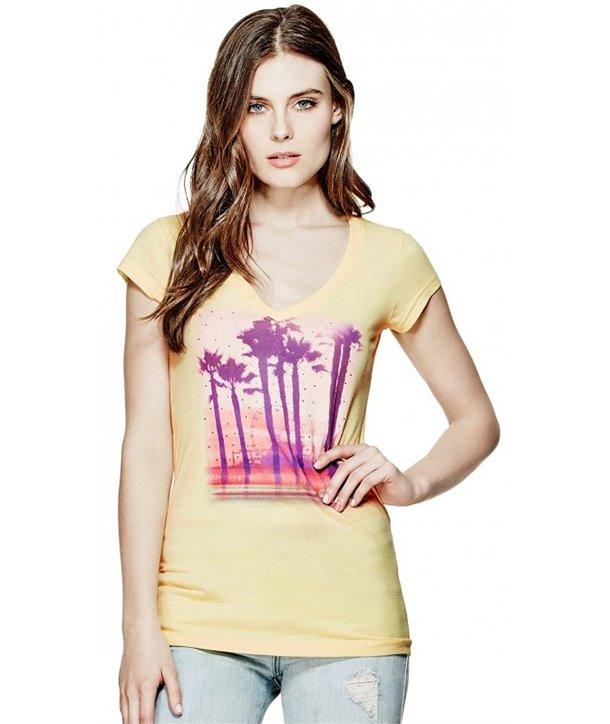 GUESS dámské tričko Harpa Tropical žluté
