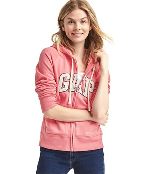 GAP mikina French Terry Zip hoodie coral