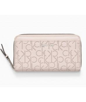 Calvin Klein dámská peněženka Momogram Jacquard béžová