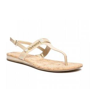 Guess dámské žabky sandály kožené JYLL natural